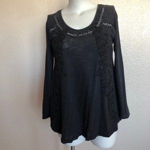 Soft Surroundings Embroidered Long Sleeve Top Sz S